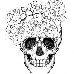 Full face skull with roses