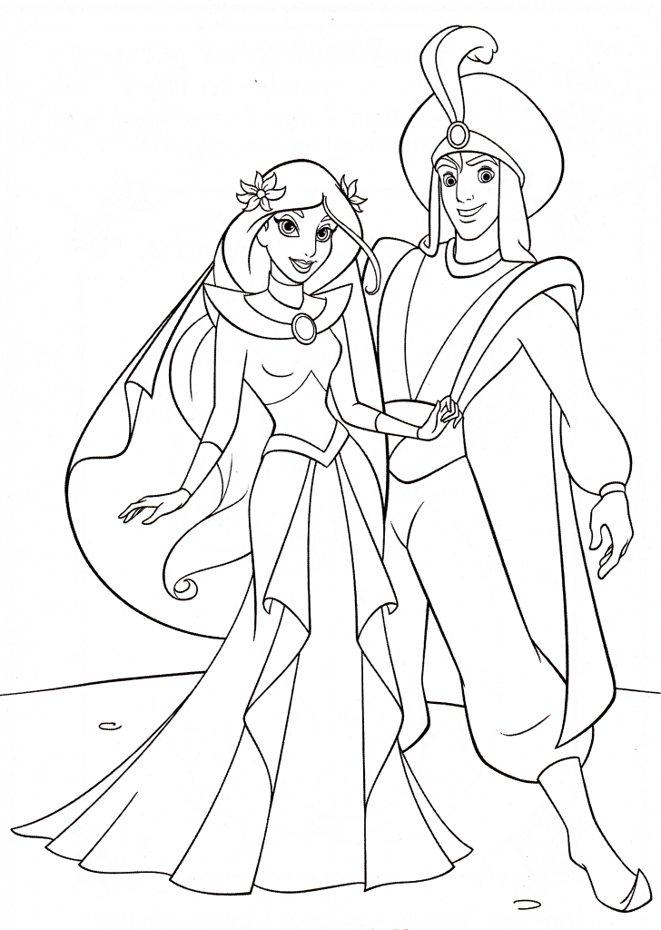 The wedding of Jasmine and Aladdin - Coloring pages for you