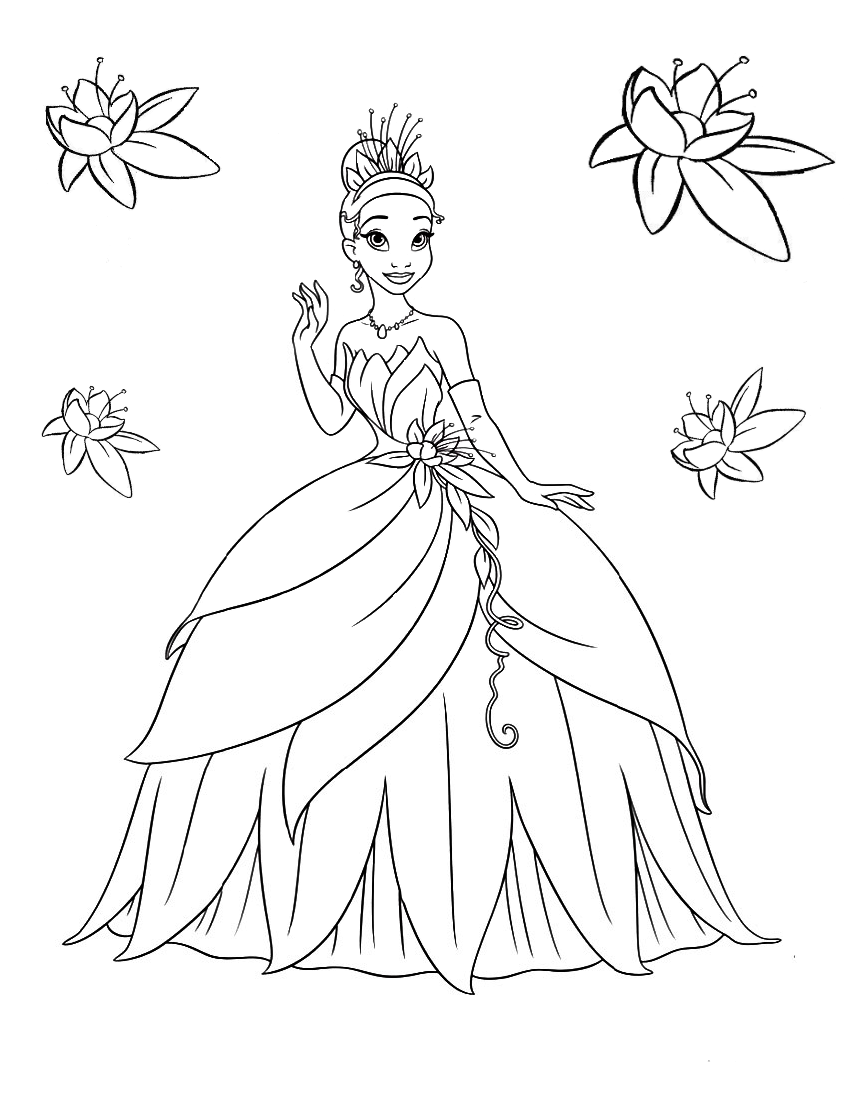 Tiana in ball gown - Coloring pages for you