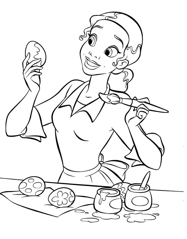 Tiana paints eggs