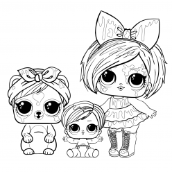 Doll LOL blot with a pet and sister