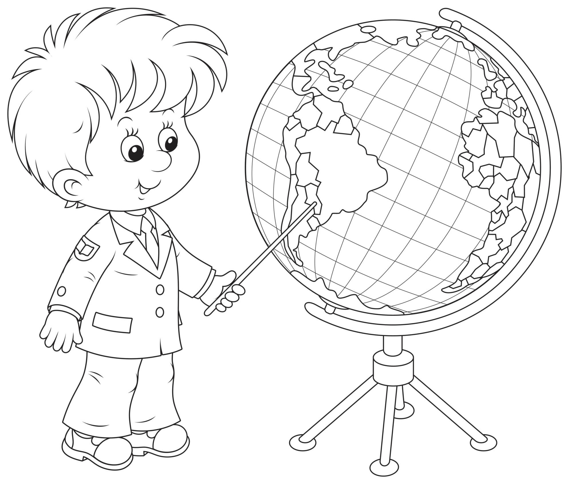 A first grader with a globe
