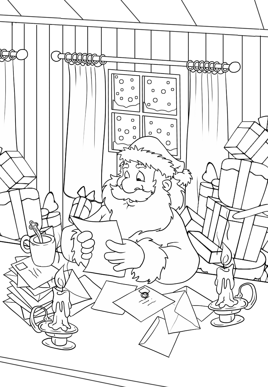 Santa Claus reads letters