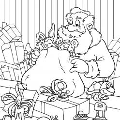 Santa preparing gifts